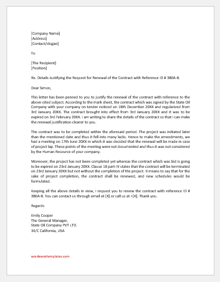 Justification Letter for Contract Renewal