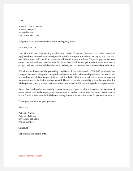 Letter to Hospital for Lack of Accommodation