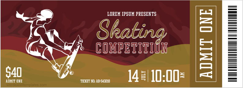 Skating Competition Ticket Template
