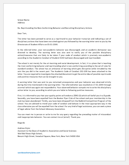 Student Disciplinary Action Letter