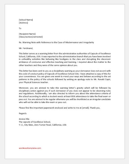 Student Disciplinary Warning Letter