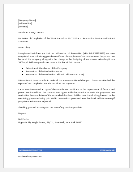 Work Completion Letter for Engineer