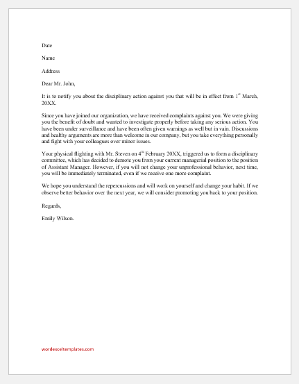 Disciplinary Action Letter for Fighting