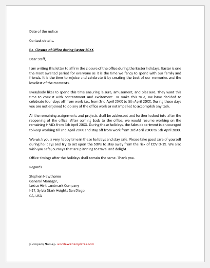 Easter Holiday Closure Letter
