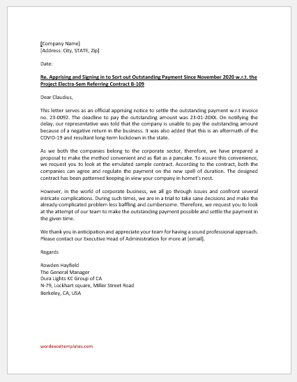 Letter for Outstanding Payment Settlement