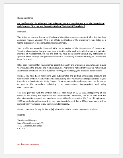 Letter of Disciplinary Action for Employee