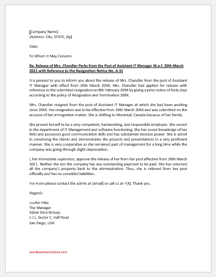 Release Letter for Employee