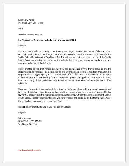 Release Letter for Vehicle