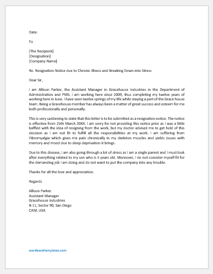 Resignation Letter Due to Health and Stress