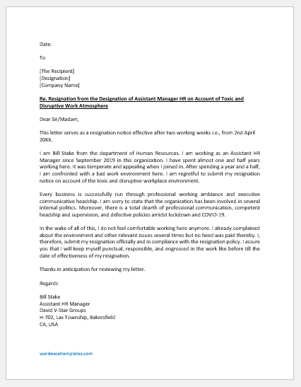Resignation Letter due to Toxic Work Environment