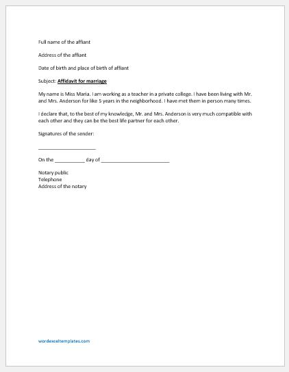 Affidavit Letter Sample