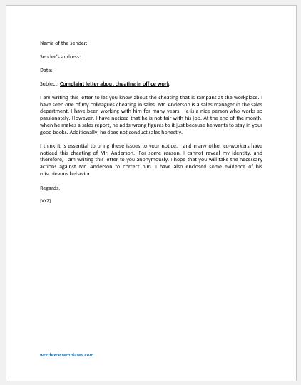 Anonymous Letter to Boss about Cheating in Office Work