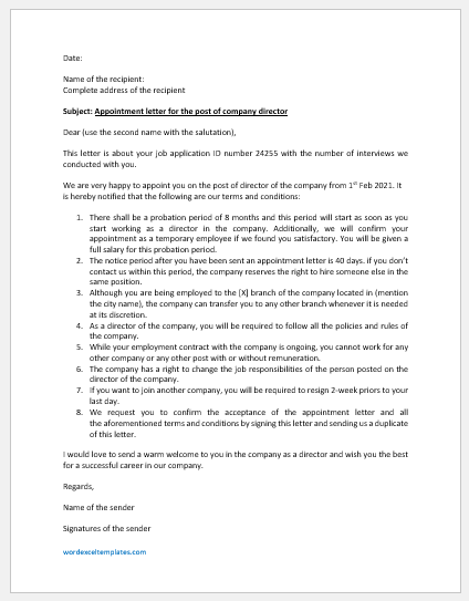 Appointment Letter for Company Director