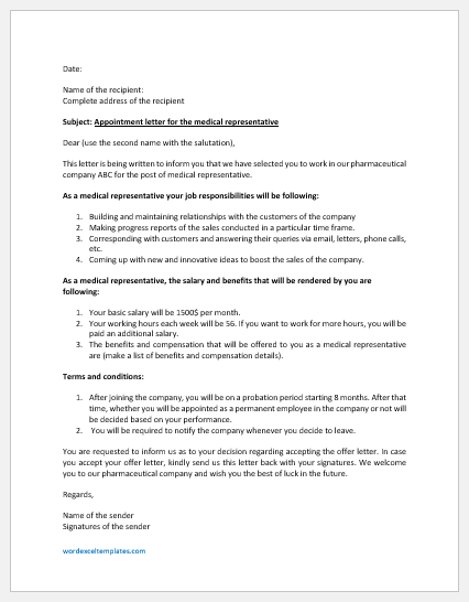 Appointment Letter for Medical Representative