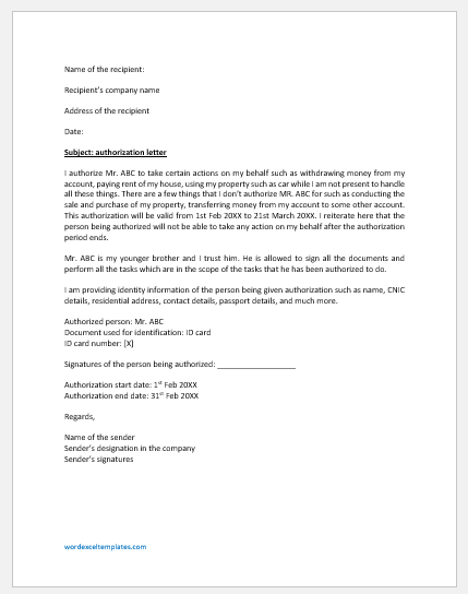 Authorization Letter Sample Template