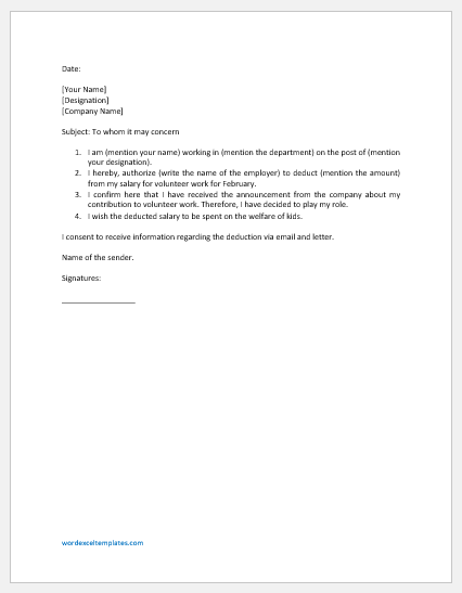 Authorization Letter to Deduct from Salary