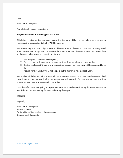 Commercial Lease Negotiation Letter Template