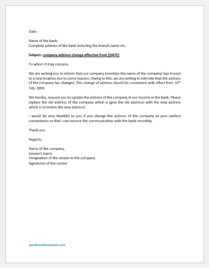 Company Address Change Letter to Bank