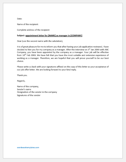 Company Appointment Letter for Manager