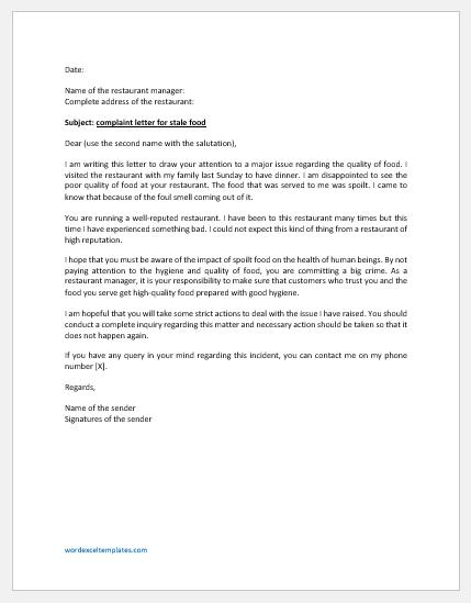 Complaint Letter for Stale Food
