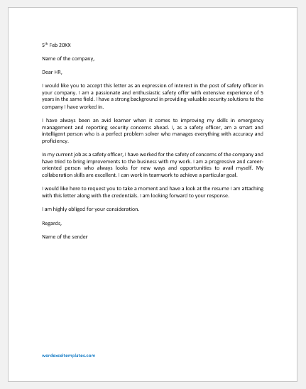 Cover Letter for Safety Officer with Experience