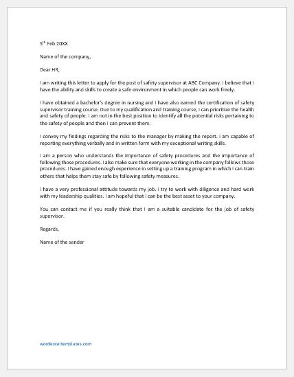 Cover letter for safety supervisor