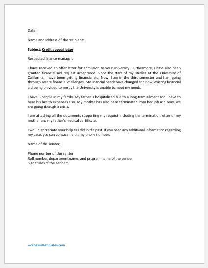 Credit Appeal Letter