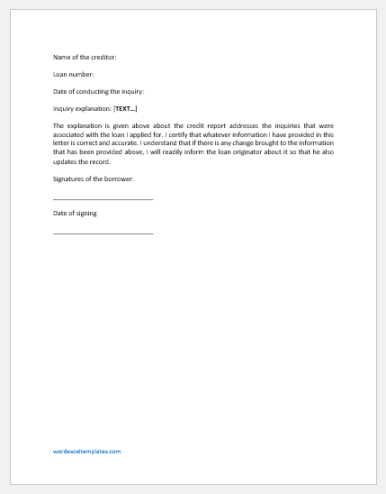 Credit Inquiry Letter Template