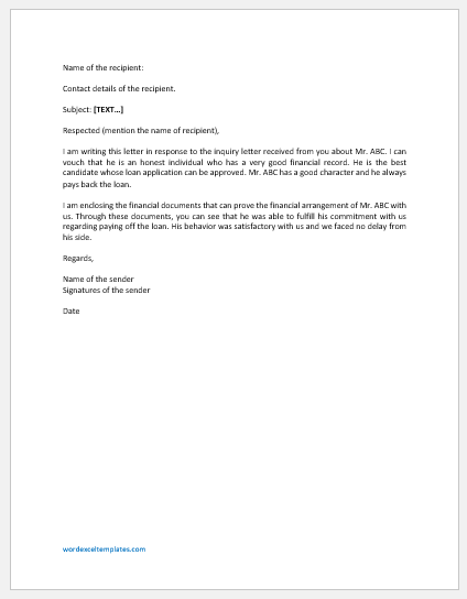 Credit Reference Letter Template