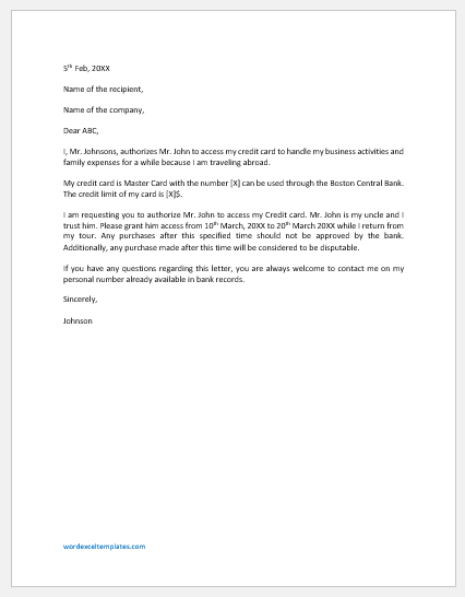 Credit authorization letter template