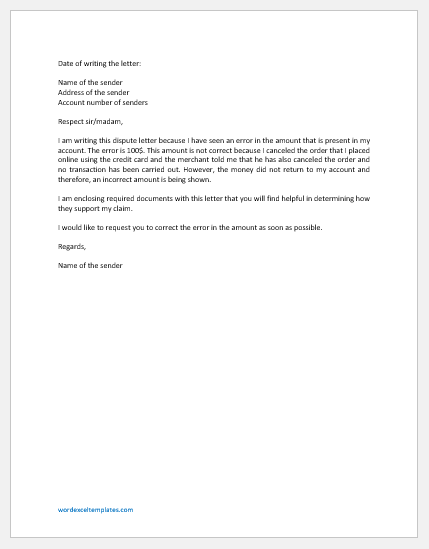 Dispute Letter to Credit Card Company