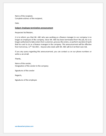 Employee Termination Announcement Letter to Clients