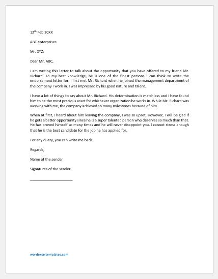 Endorsement Letter Template