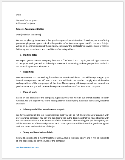 Insurance Company Appointment Letter