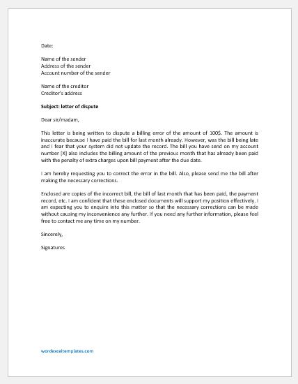 Letter for Disputing Billing Error