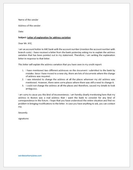 Letter of Explanation for Address Variation