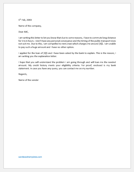 Letter of Explanation for Commute