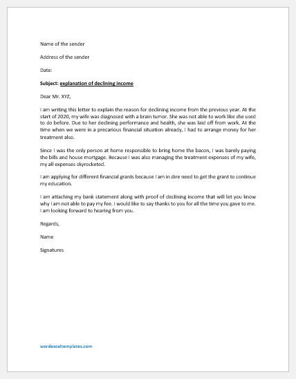 Letter of Explanation for Declining Income