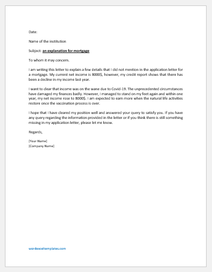Letter of Explanation for Mortgage