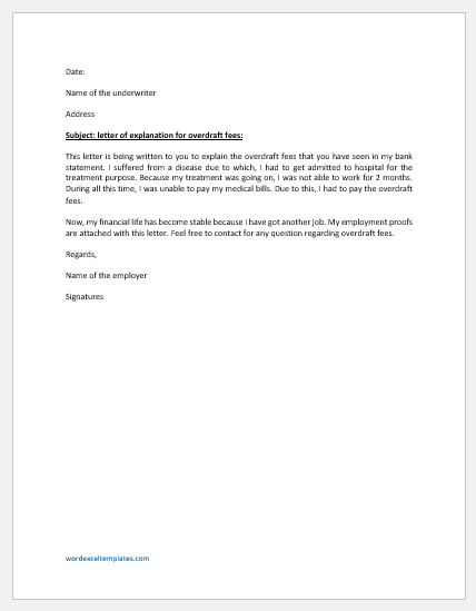 Letter of Explanation for Overdraft Fees to Underwriter