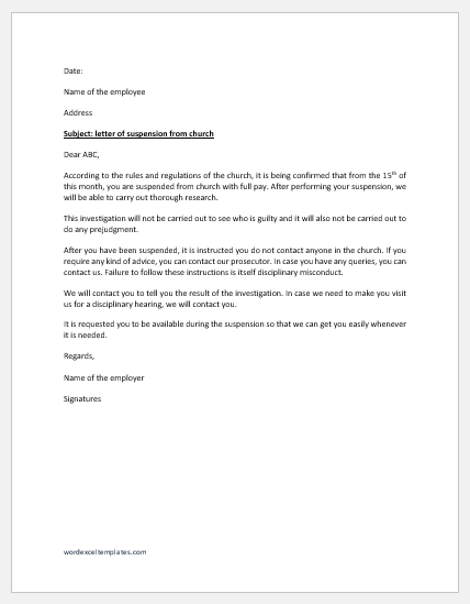Letter of Suspension from Church