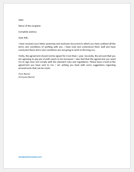 Letter of disagreement sample template