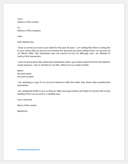 Letter to Bank for Unauthorized Transaction