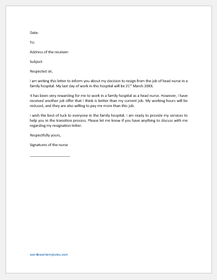Nurse Resignation Letter for Another Job Offer