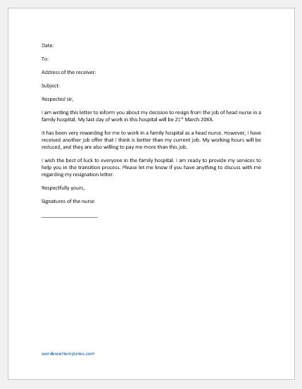 Nurse Resignation Letter for Another Job Offer
