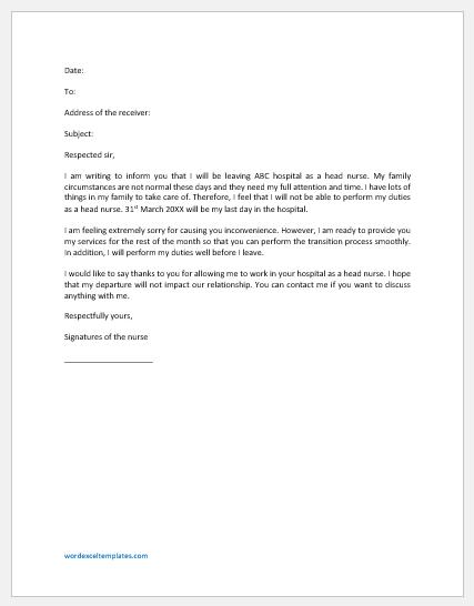 Nurse Resignation Letter for Family Reason