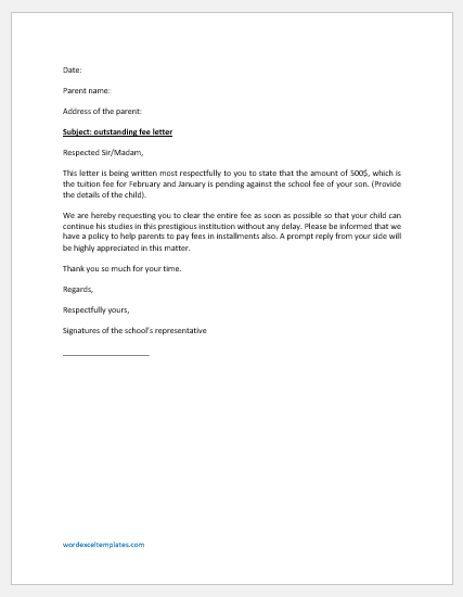 Outstanding Fee Letter to Parents