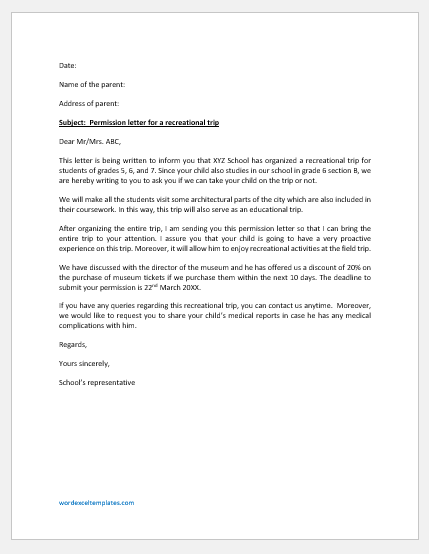 Permission Letter for Recreational Trip