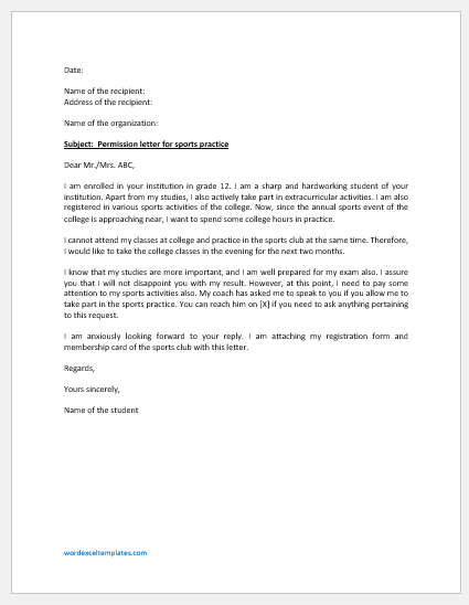 Permission Letter for Sports Practice