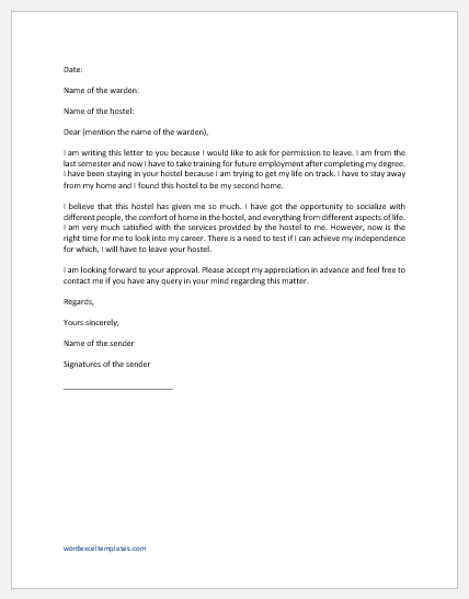 Permission letter to hostel warden for leave
